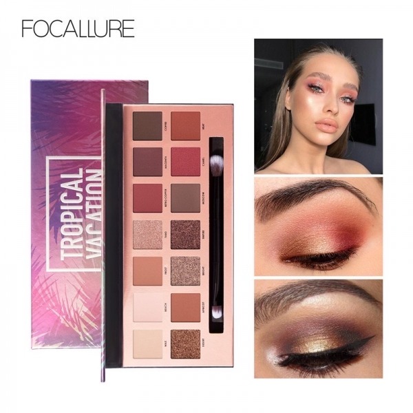 FOCALLURE Tropical Vacation Eyeshadow Palette With Brush- 14 Colors