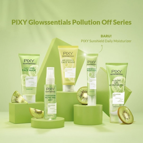 PIXY Glowssentials Pollution Off Series - Face Wash   Clay + Scrub Mask   Gel Moisturizer   Protecting face Mist   Sun Daily